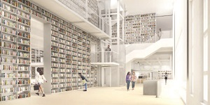 Perspective images of New Library Lobby and 24-hour Reading Room